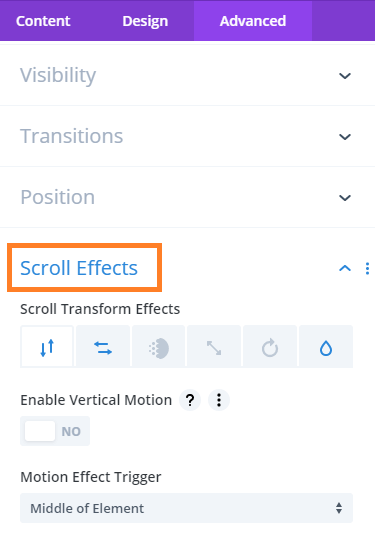 scroll effect divi